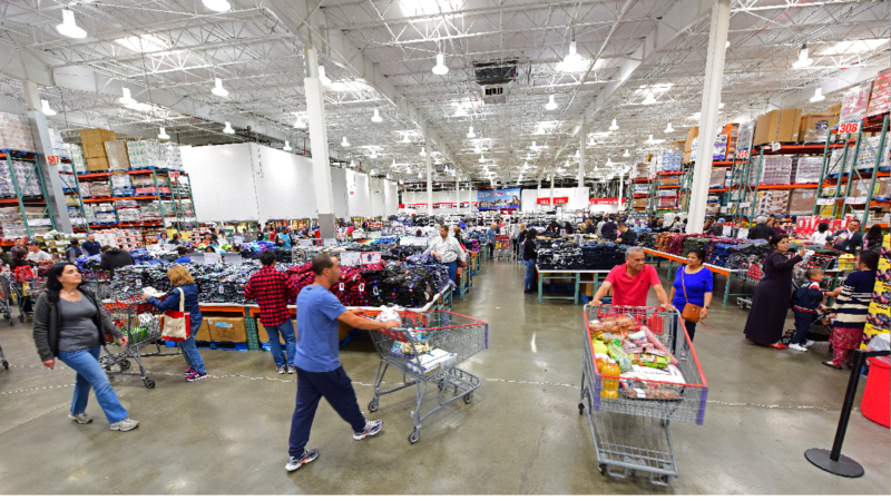 A photo of the interior of a Costco store