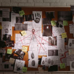 A cork board with clues on it, trying to solve a crime.