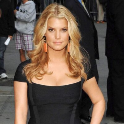 Jessica Simpson wears a black dress on the streets of New York