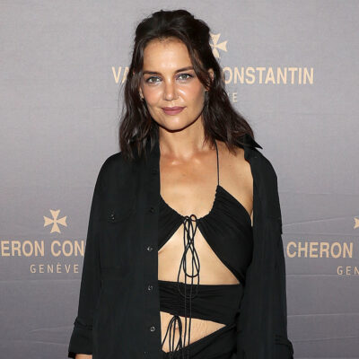 Katie Holmes in a reveling black dress at a NYFW event