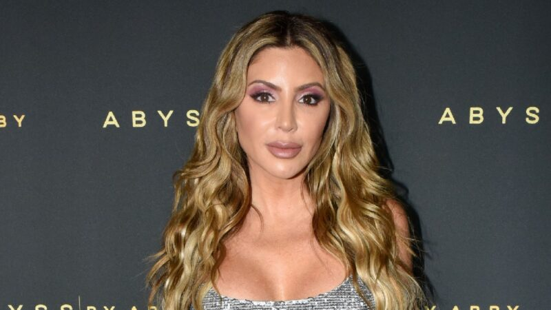 Larsa Pippen wears a silver dress against a dark background on the red carpet
