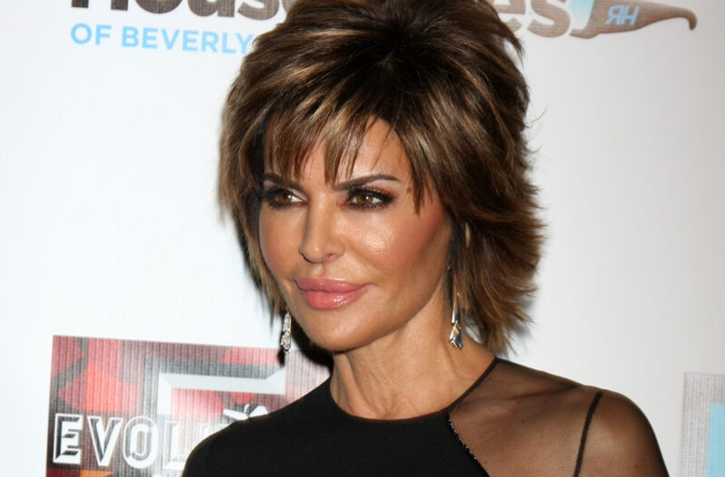 Close up of Lisa Rinna at a red carpet event.