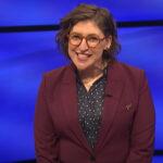 screenshot of Mayim Bialik hosting Jeopardy!