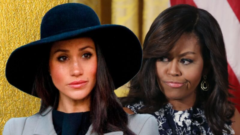 Meghan Markle wears a large dark hat and gray blazer in a photo layered over a picture of Michelle Obama wearing a floral blouse in the White House