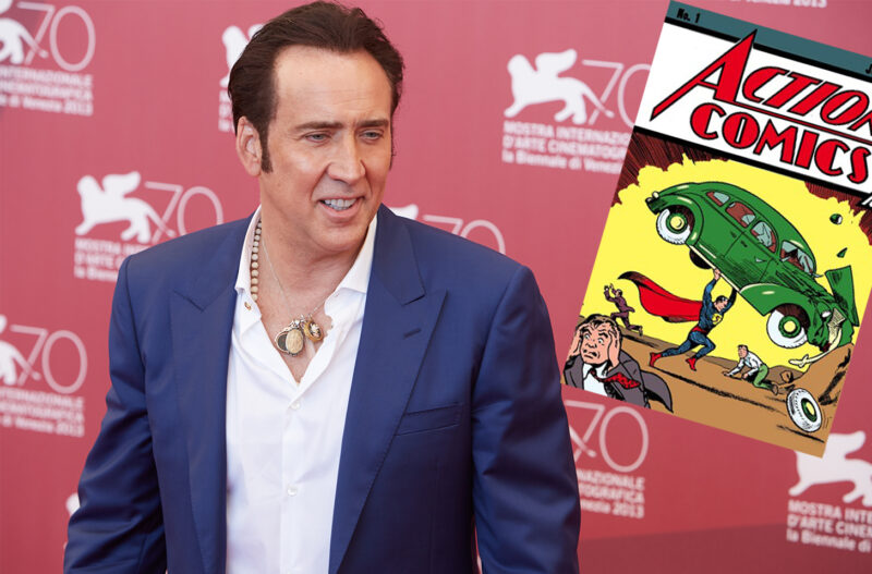 Nicolas Cage, smiling, with a embedded image of Action Comics 1