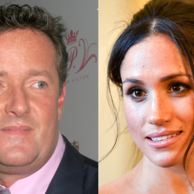 Piers Morgan (left) wears a black suit on the red carpet. Separate photo of Meghan Markle visiting Cardiff Castle