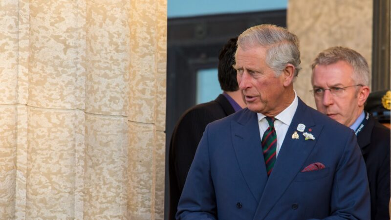 Prince Charles wears a blue suit and peers around a column