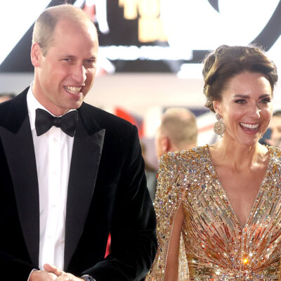 Primce William on the left arriving with Kate Middleton at the premiere of No Time To Die