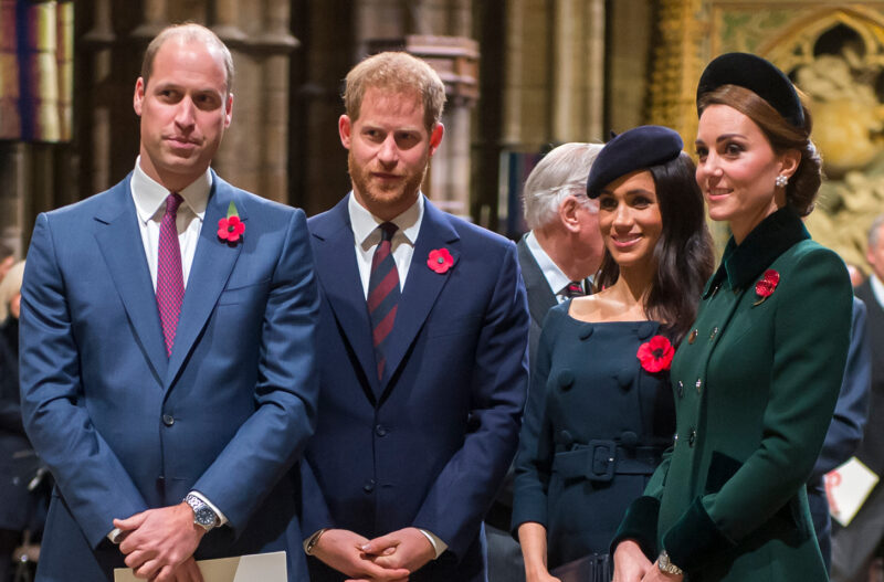 From left to right, Prince William, Prince Harry, Meghan Markle, Kate Middleton, together at a church service