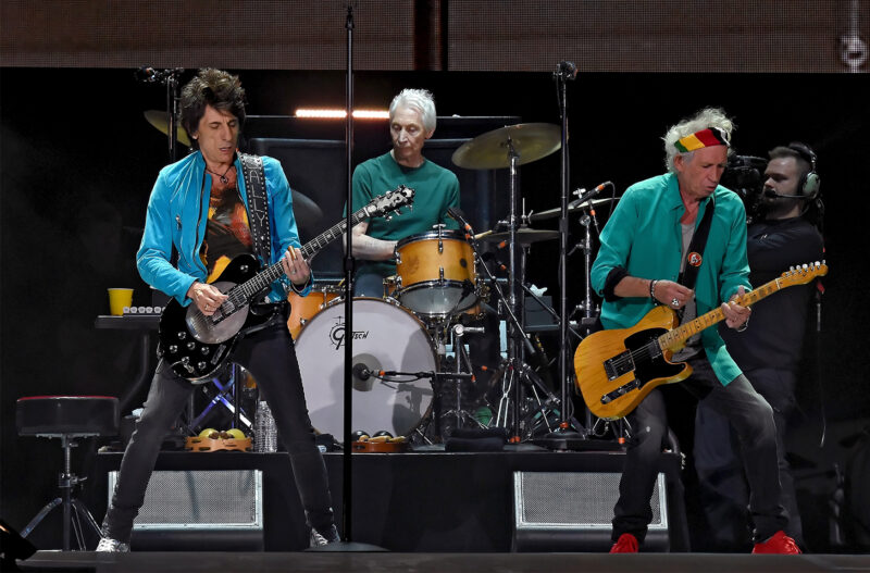 The Rolling Stones on stage in concert, From left to right, Ronnie Wood, Charlie Watts, Kieth Richards