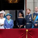 Several members of the British royal family gather together on a balcony