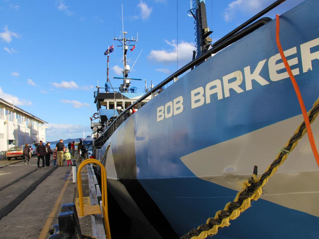 "The boat ""Bob Barker"" sitting at port"
