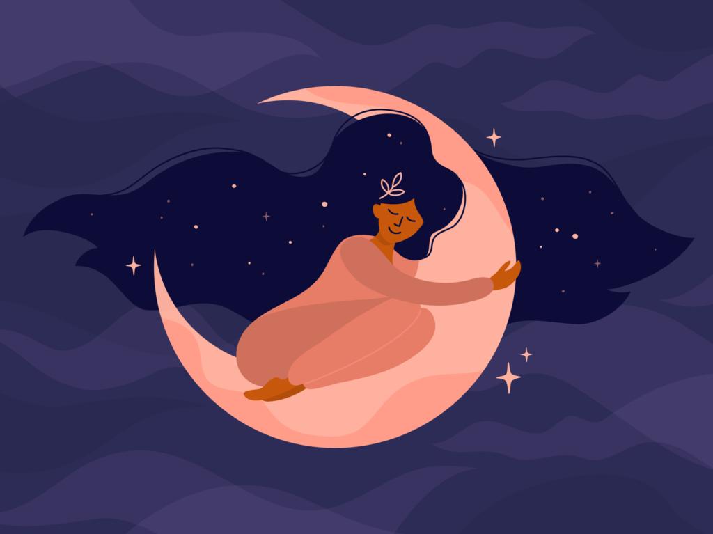 A cartoon woman curls into a moon