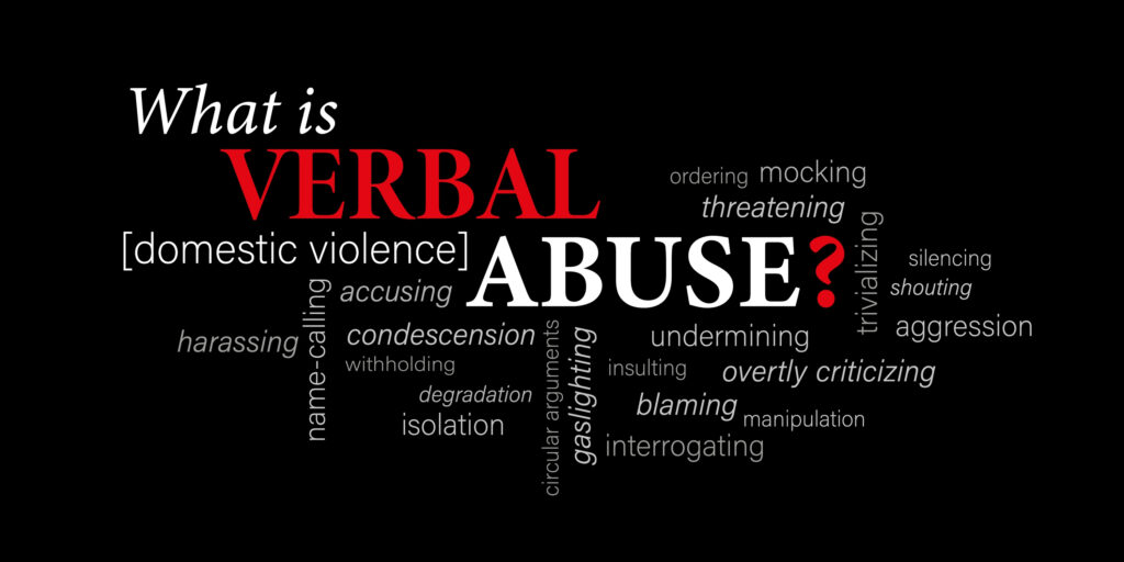 """Graphic stating """"What is verbal abuse"""" with corresponding words"""