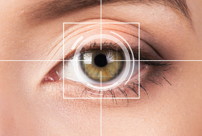 Close up of an eye with overlaid graphics indicating digital analysis