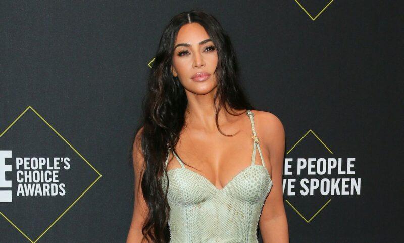 Kim Kardashian in a green dress