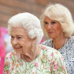 Queen Elizabeth and Camilla Parker Bowles outdoors