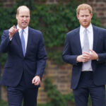 Prince William and Prince Harry walking together in navy suits