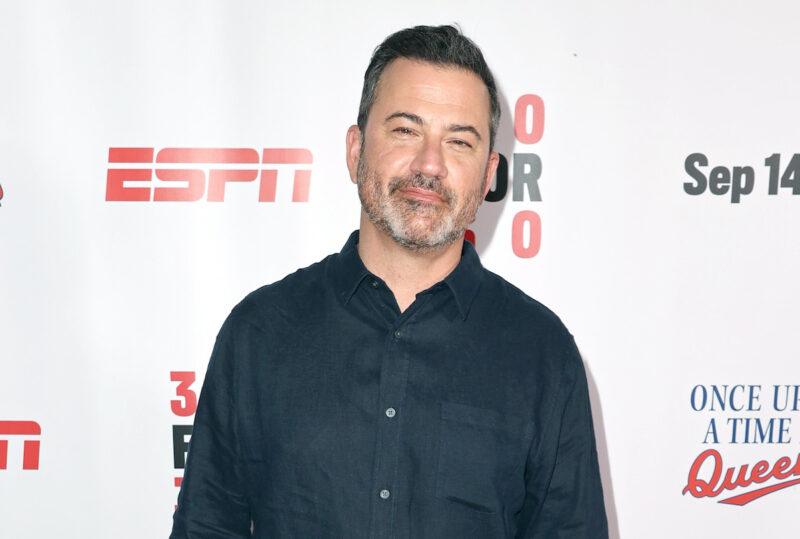 Jimmy Kimmel in a blue shirt