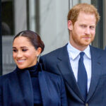 Prince Harry in a blue suit, Meghan Markle in a blue outfit