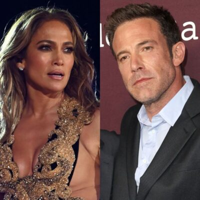 side by side photos of Jennifer Lopez in a gold dress and Ben Affleck in a suit