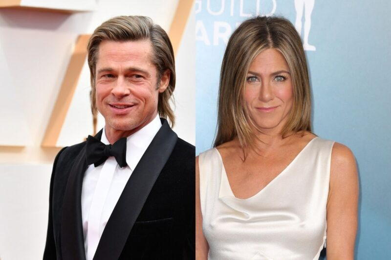 side by side photos of Brad Pitt in a tuxedo and Jennifer Aniston in a white dress