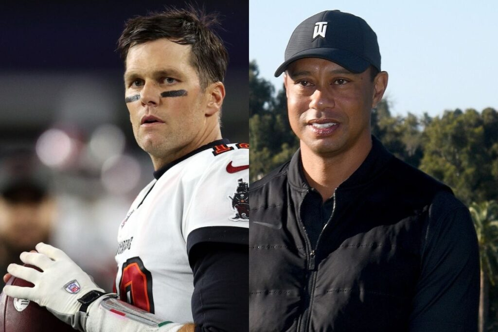 side by side photos of Tom Brady and Tiger Woods