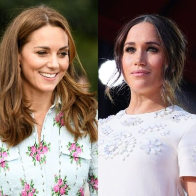 side by side photos of Kate Middleton in a blue dress and Meghan Markle in a white dress