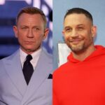 side by side photos of Daniel Craig in a blue suit and Tom Hardy in a red hoodie