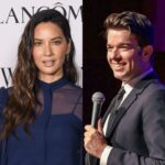 side by side photos of Olivia Munn in a blue dress and John Mulaney in a grey suit