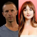 side by side photos of Chris Martin and Dakota Johnson