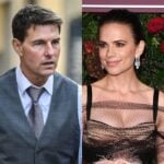 side by side photos of Tom Cruise and Hayley Atwell