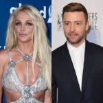 side by side photos of Britney Spears and Justin Timberlake