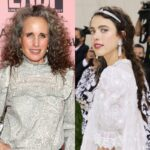 side by side photos of Andie MacDowell and Margaret Qualley