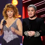 side by side photos of Reba McEntire and Kelly Clarkson on stage