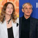 side by side photos of Drew Barrymore and Ellen DeGeneres