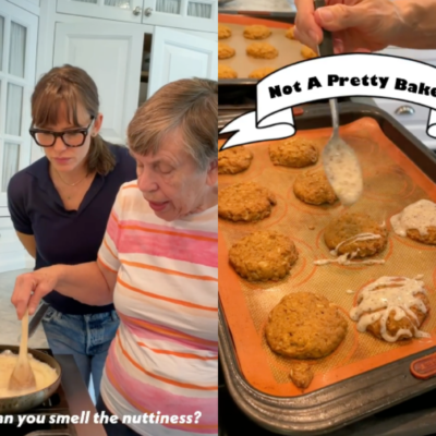 Side by side images of Jennifer Garner browning butter with her mom Pat and her drizzling glaze on pumpkin cookies.