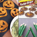 Collage of Halloween inspired recipes.