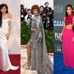 Side by side images of Zendaya's various red carpet looks.