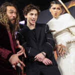 From left to right, Jason Momoa, Timothée Chelamet, Zendaya at the Dune premiere