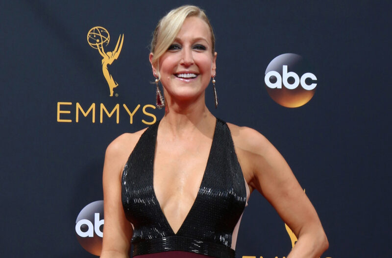 Lara Spencer at the Emmy Awards in a low-cut dress.