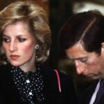 Princess Diana wears dark maternity clothes as she stands near then-husband Prince Charles, in a dark suit