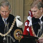 Prince Charles and Prince Andrew wear red, black and white ceremonial robes at Windsor Castle