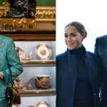 A photo on the left depicts Queen Elizabeth wearing a matching teal blouse and skirt. On the right, a photo shows Meghan Markle and Prince Harry, both in dark blue, posing in New York