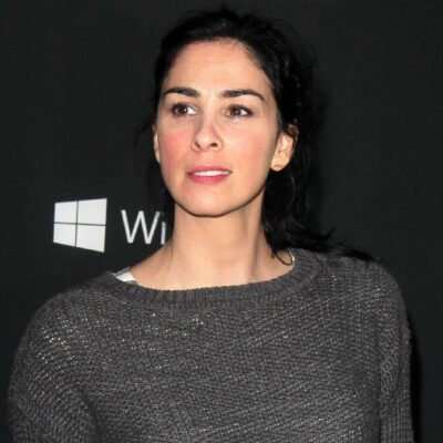 Sarah Silverman wears a gray sweater against a black background on the red carpet