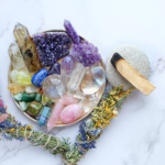 A crystal cleansing kit with different crystals in it