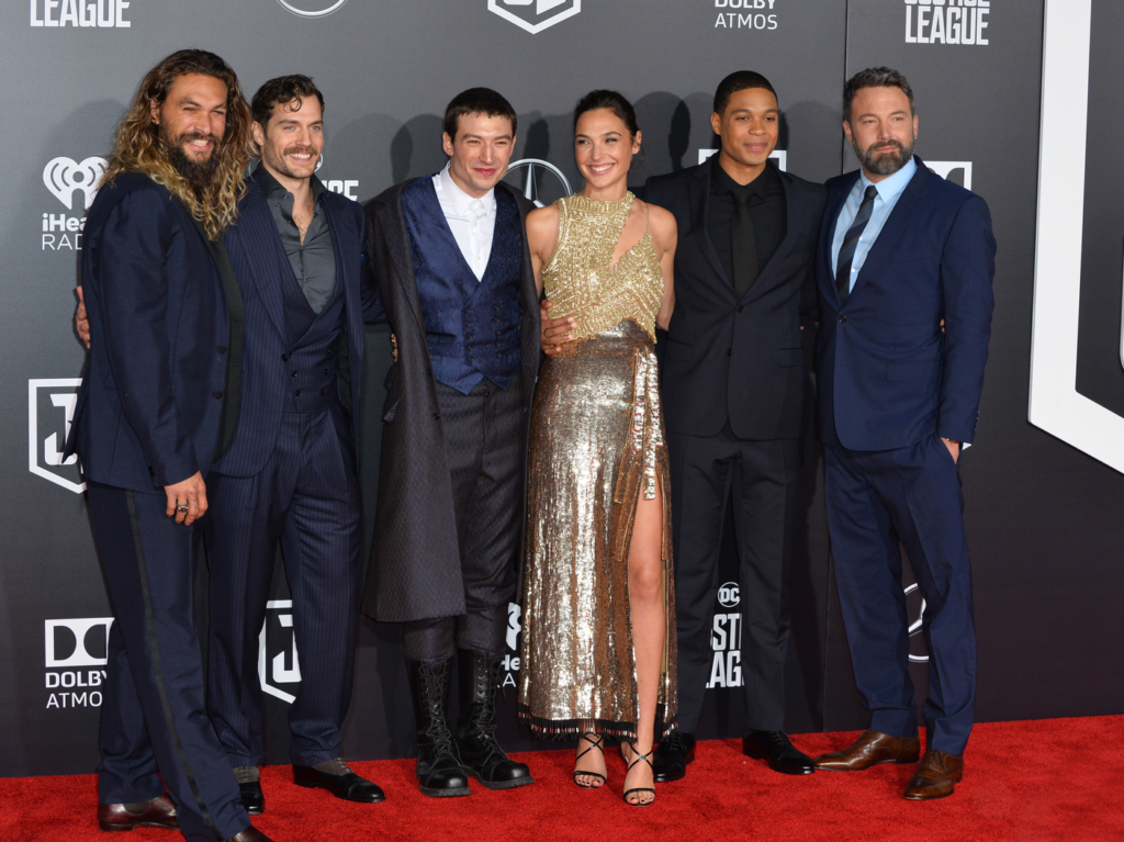 Henry Cavill with the cast of Justice League