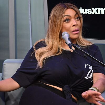 Wendy Williams wears a black top and black pants during a Sirius XM interview