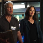 Screenshot from CSI: Vegas. William Petersen as Gil Grissom on the left, Jorja Fox as Sara Sidel on the right.
